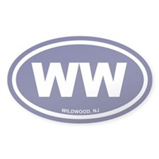 WW Wildwood, NJ Blue Oval Sticker (50 pk)