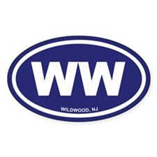 WW Wildwood, NJ Blue Oval Decal