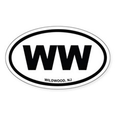 WW Wildwood, NJ Euro Oval Sticker (10 pk)