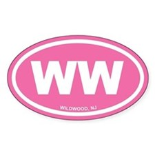 WW Wildwood, NJ Pink Euro Oval Decal