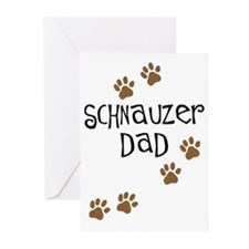 Paw Prints Schnauzer Dad Greeting Cards (Pk of 10)