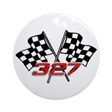 327 Checkered Flags Ornament (Round)