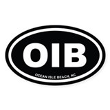 OIB Ocean Isle Beach, NC Euro Black Oval Decal