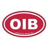 OIB Ocean Isle Beach, NC Euro Red Oval Decal