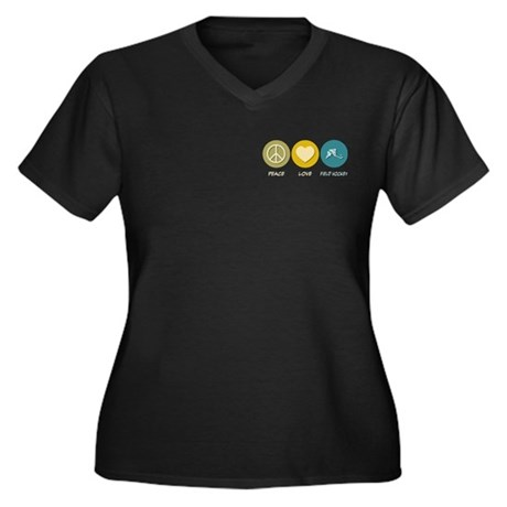 Peace Love Field Hockey Women's Plus Size V-Neck D
