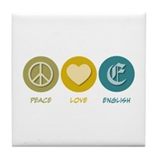 Peace Love English Tile Coaster