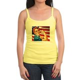Rosie the Riveter with US Flag Background Ladies Top