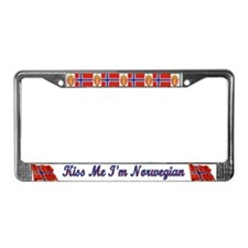 Kiss Me I'm Norwegian  License Plate Frame