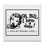 Date with my Crochet Hook Tile Coaster