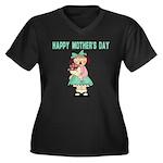 Mother's Day Women's Plus Size V-Neck Dark T-Shirt