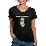 Mother's Day Women's V-Neck Dark T-Shirt