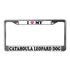 Heart My Catahoula Leopard Dog License Plate Frame