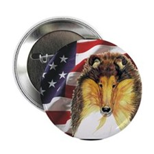 Collie Dog Patriotic USA Flag Button