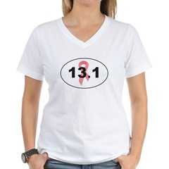 13.1 Breast Cancer Running Women's V-Neck T-Shirt