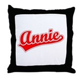 Retro Annie (Red) Throw Pillow