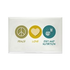 Peace Love Diet and Nutrition Rectangle Magnet (10