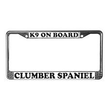K9 On Board Clumber Spaniel License Plate Frame