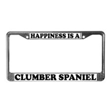 Happiness Is A Clumber Spaniel License Plate Frame