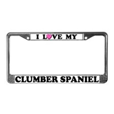 I Love My Clumber Spaniel License Plate Frame