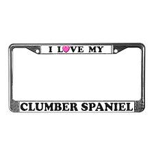 I Love My Clumber Spaniel License Plate Frame