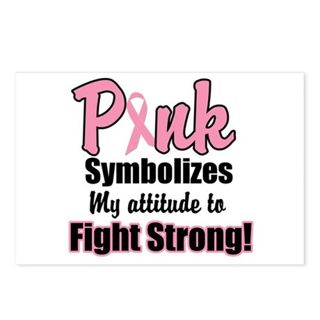 Pink Ribbon Fight Strong Postcards (Package of 8)