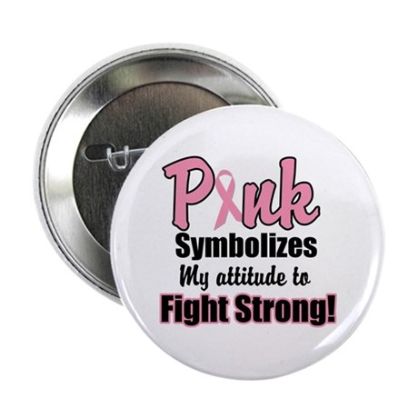 "Pink Ribbon Fight Strong 2.25"" Button (10 pack)"
