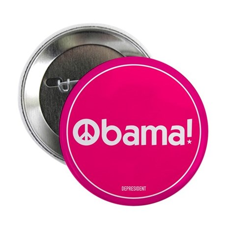 "Pink Obama Peace 2.25"" Button"