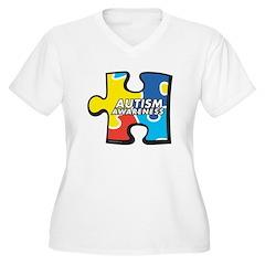 Autism Puzzle Women's Plus Size V-Neck T-Shirt
