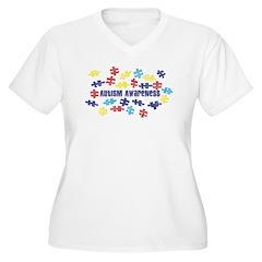 Autism Awareness Puzzle Piece Women's Plus Size V-