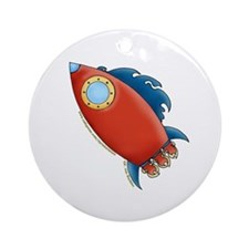 Cute Rocket Picture 2 Ornament (Round)