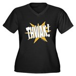 THWAK! Women's Plus Size V-Neck Dark T-Shirt