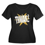 THWAK! Women's Plus Size Scoop Neck Dark T-Shirt