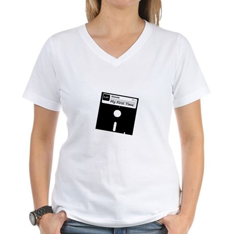 My First Time Womens V-Neck T-Shirt
