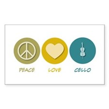 Peace Love Cello Rectangle Sticker 50 pk)