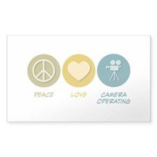 Peace Love Camera Operating Rectangle Decal