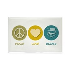 Peace Love Books Rectangle Magnet (100 pack)