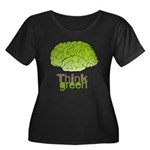 Think Green Women's Plus Size Scoop Neck Dark T-Sh