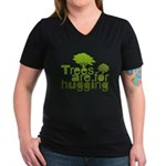 Trees are for hugging Women's V-Neck Dark T-Shirt
