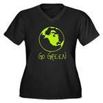 Earth Day T-shirts Women's Plus Size V-Neck Dark T