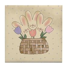 Country Bunnies Tile Coaster