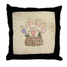 Country Bunnies Throw Pillow