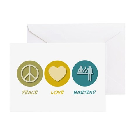 Peace Love Bartend Greeting Card