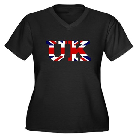 UK Lettering Women's Plus Size V-Neck Dark T-Shirt