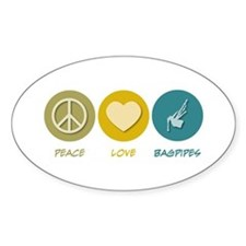 Peace Love Bagpipes Oval Decal