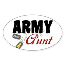Army Aunt Dog Tags Oval Decal