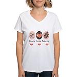 Peace Love Botany Botanist Women's V-Neck T-Shirt