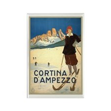 Cortina D'Ampezzo Ski Poster Rectangle Magnet (100