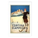 Cortina D'Ampezzo Ski Poster Postcards (Package of