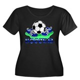 Soccer (Blue) Women's Plus Size Scoop Neck Dark T-