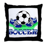 Soccer (Blue) Throw Pillow